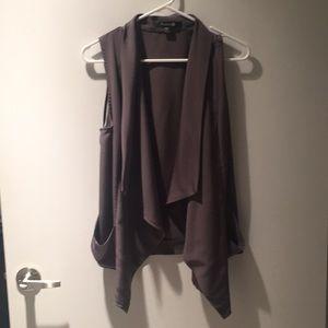 Forever 21, gray vest, pockets, M.